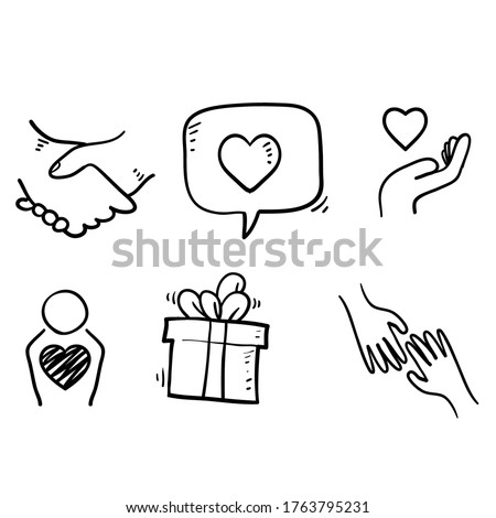 hand drawn Friendship and love doodle icons. Interaction, Mutual understanding and assistance business. Trust, social responsibility icons. vector