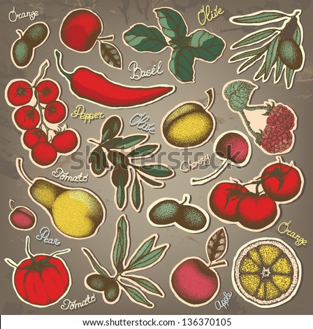 Hand drawn fruit and vegetables set