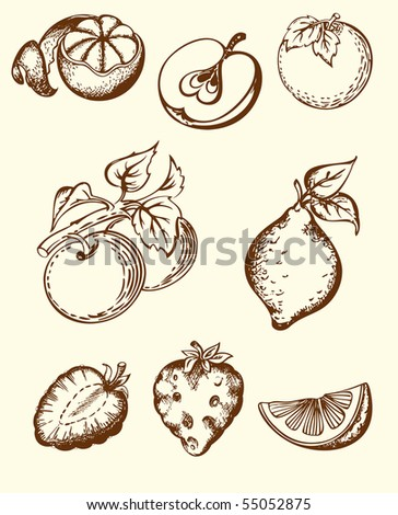 hand-drawn fruit icons set - stock vector