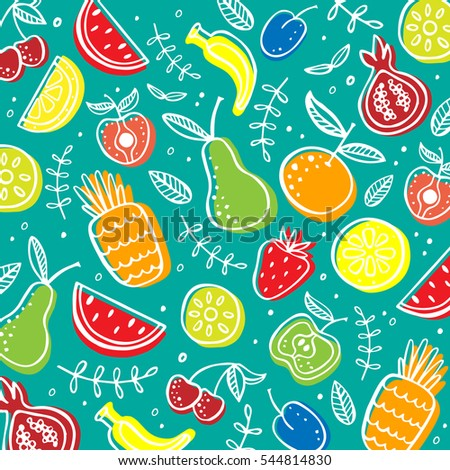 Hand drawn Fruit Vector Pattern