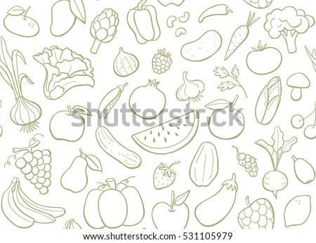 Hand drawn fruits and vegetables doodle set. Editable seamless pattern. Vector illustration.
