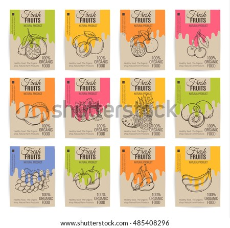 Hand drawn fruits posters set. Vector illustration.