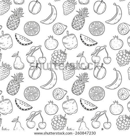 hand drawn fruits seamless