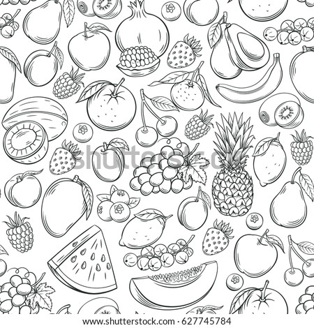 Hand drawn fruits seamless pattern. Healthy food vector background. #627745784