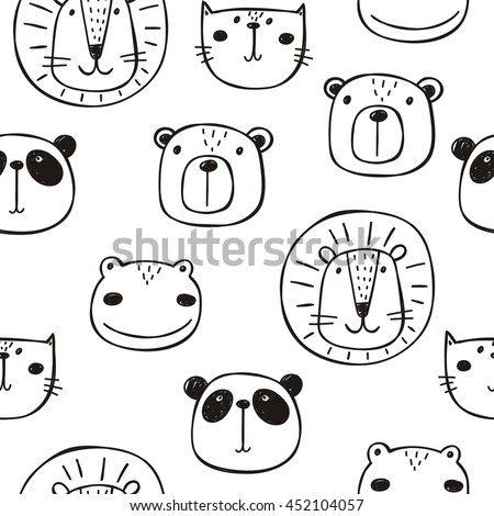hand drawn funny animals print