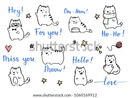 Hand drawn funny cats illustration drawing by ink brush pen.  Simple doodle sketch style. Cute cat characters collection for your greeting card, template design.