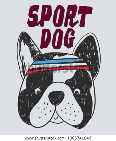Shutterstock Hand drawn funny dog with typography vector for t shirt printing and embroidery, Graphic tee and printed tee