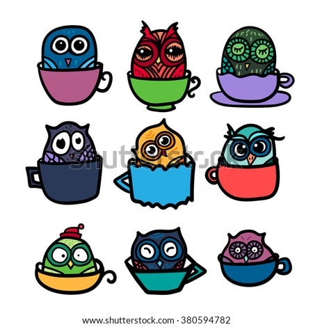 Hand  Drawn Funny Owl with Cups of Coffee. Owls set for print, fabric, wrap and illustration. Vector #380594782