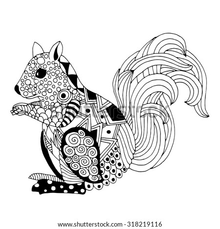 hand drawn funny squirrel