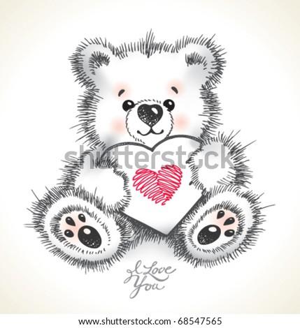hand drawn furry teddy bear