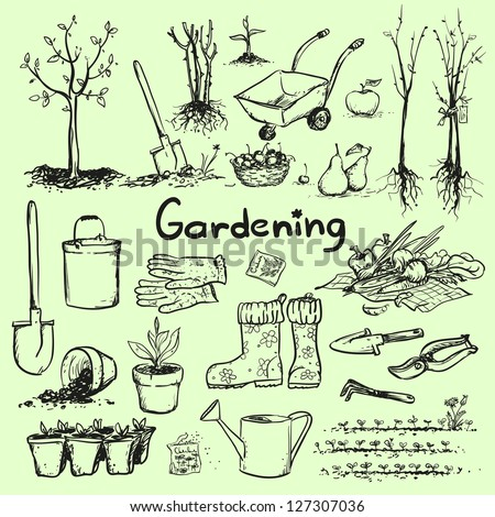 Hand drawn garden tools, Spring gardening, sketch