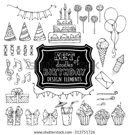 Hand-drawn garlands and balloons, music notes, gift boxes, party blowouts, cakes and candies, birthday pie, party hats and other doodles design elements isolated on white background.