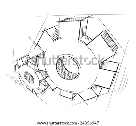 Hand-drawn gears. Vector illustration.
