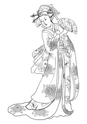 Hand drawn geisha women hold fan.Japanese women in kimono with chrysanthemum flower pattern.Traditional Japanese tattoo style.coloring book and doodle vector.