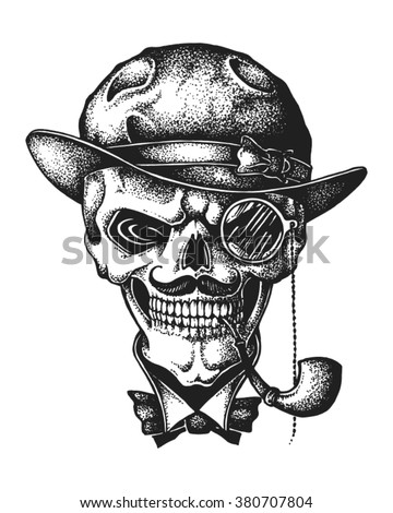 hand drawn gentleman skull