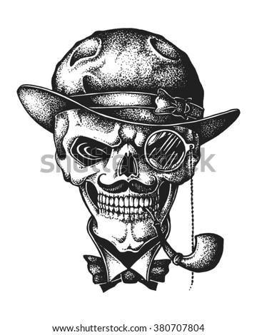 hand drawn gentleman skull