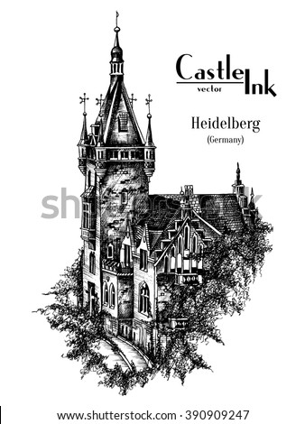 hand drawn germany castle tower ...