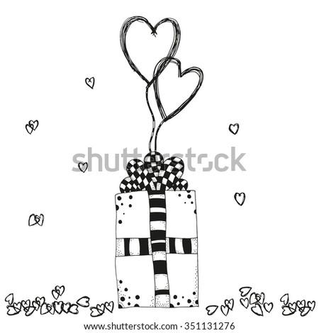 hand drawn gift box and hearts