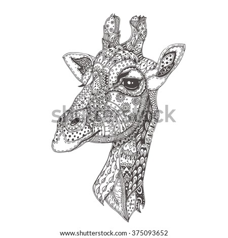 Hand-drawn giraffe with ethnic floral doodle pattern. Coloring page - zendala, design for spiritual relaxation for adults, vector illustration, isolated on a white background. Zen doodles.