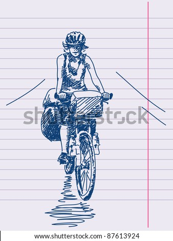 Hand drawn girl cyclist Vector