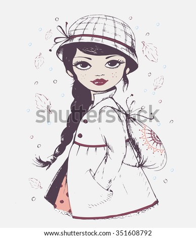 hand drawn girl  vector girl