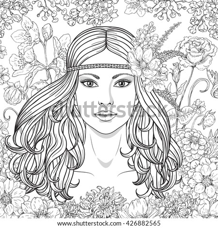 hand drawn girl with flowers