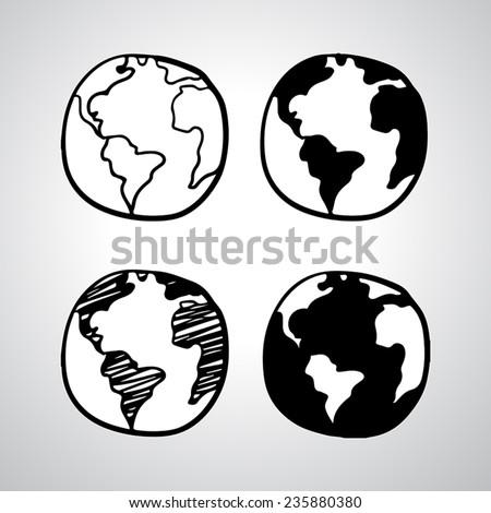 hand drawn globe icon vector