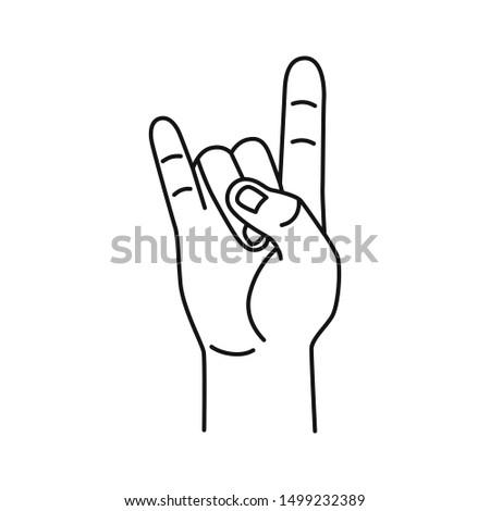 hand drawn goat hand gesture