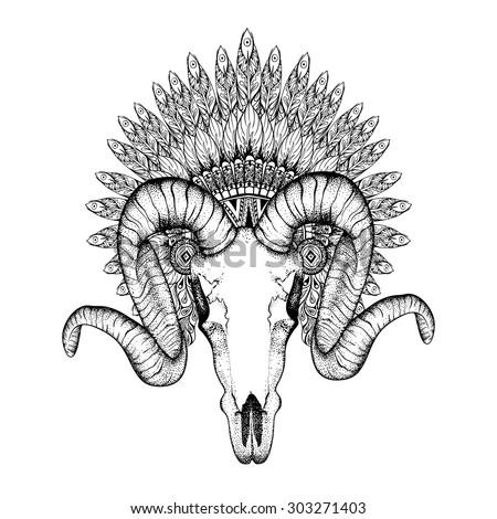 hand drawn goat skull in
