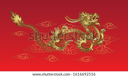 Hand drawn golden Chinese dragon with cloud on red background