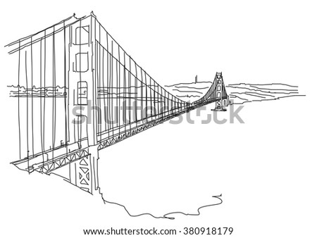 hand drawn golden gate  san