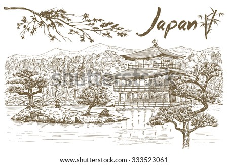 hand drawn golden pavilion