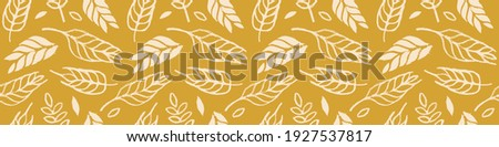 Hand drawn grain crops pattern seamless, bread grains icons, food grains illustration, wheat drawings for background of bread label design, healthy food banner, vegetarian wallpaper, bakery packaging. Сток-фото ©
