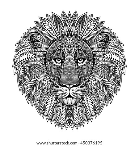 hand drawn graphic ornate head