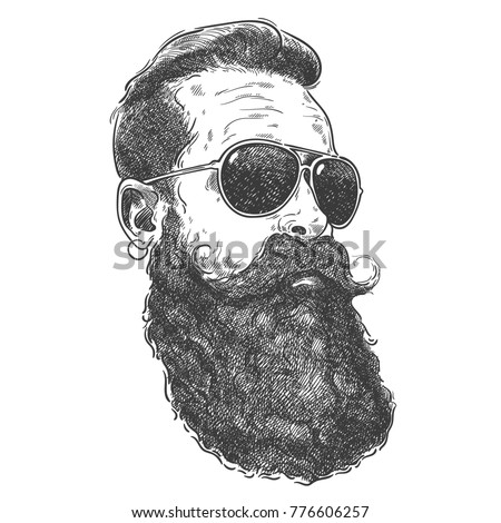 Hand drawn graphic portrait of bearded man with sunglasses