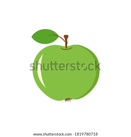 hand drawn green juicy apple on