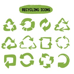 Hand drawn green recycling icon set grunge for concept design.