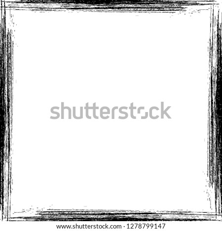 Hand drawn grunge frame. Square vintage frame.  Textured border with copy space for social media story or post layout. Easy to edit vector template for your design.