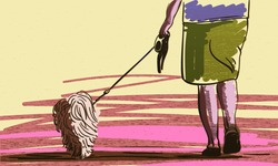 Hand drawn grunge illustration of female legs and dog on leash back view, Vector sketch colored in warm color palette