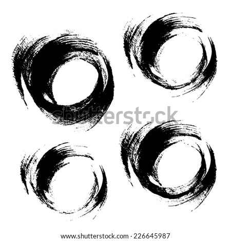 Hand drawn grunge round strokes of black paint isolated on white.