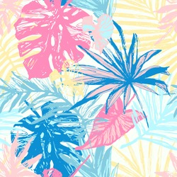 Hand drawn grunge textured tropical leaves seamless pattern. Tropical leaf silhouette elements background. Palm, fan palm, monstera, banana leaf in grunge retro style. Line art. Vector illustration