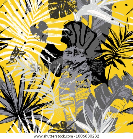 Hand drawn grunge textured tropical leaves seamless pattern. Tropical leaf silhouette with minimal elements on yellow background. Palm, fan palm, monstera, banana leaf. Line art. Vector illustration
