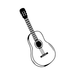 Hand drawn guitar, musical instruments isolated on a white background. Celebration elements. Doodle, simple outline illustration. It can be used for decoration of textile, paper.