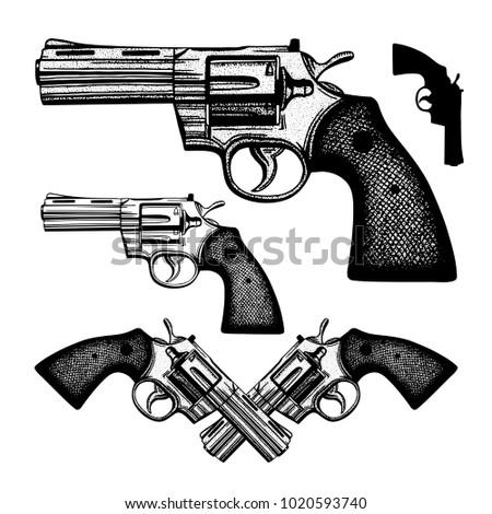 hand drawn gun vintage