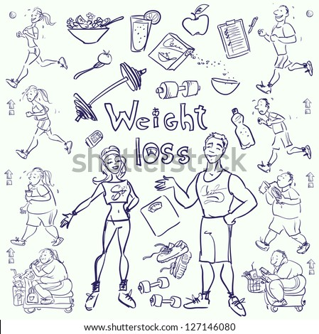 Hand drawn gym people cartoon characters and elements sketch