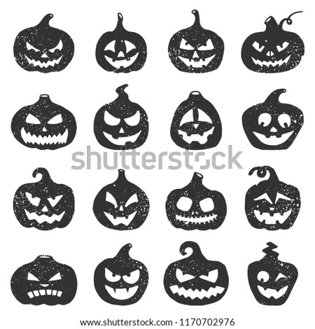 Hand drawn Halloween pumpkins. Pumpkin black grunge silhouette to Halloween holiday illustration. Jack-o-Lantern silhouette set. Pumpkins with different facial expressions
