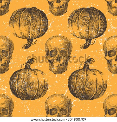Hand drawn Halloween seamless pattern with pumpkin and skull