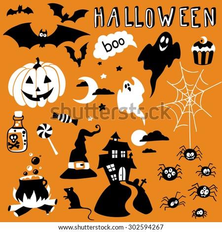 hand-drawn halloween set