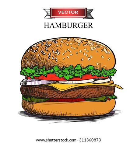 Hand drawn hamburger isolated on white background. Vector illustration.
