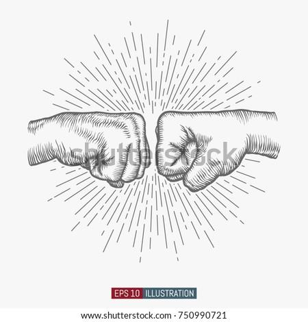 hand drawn hand gesture fist